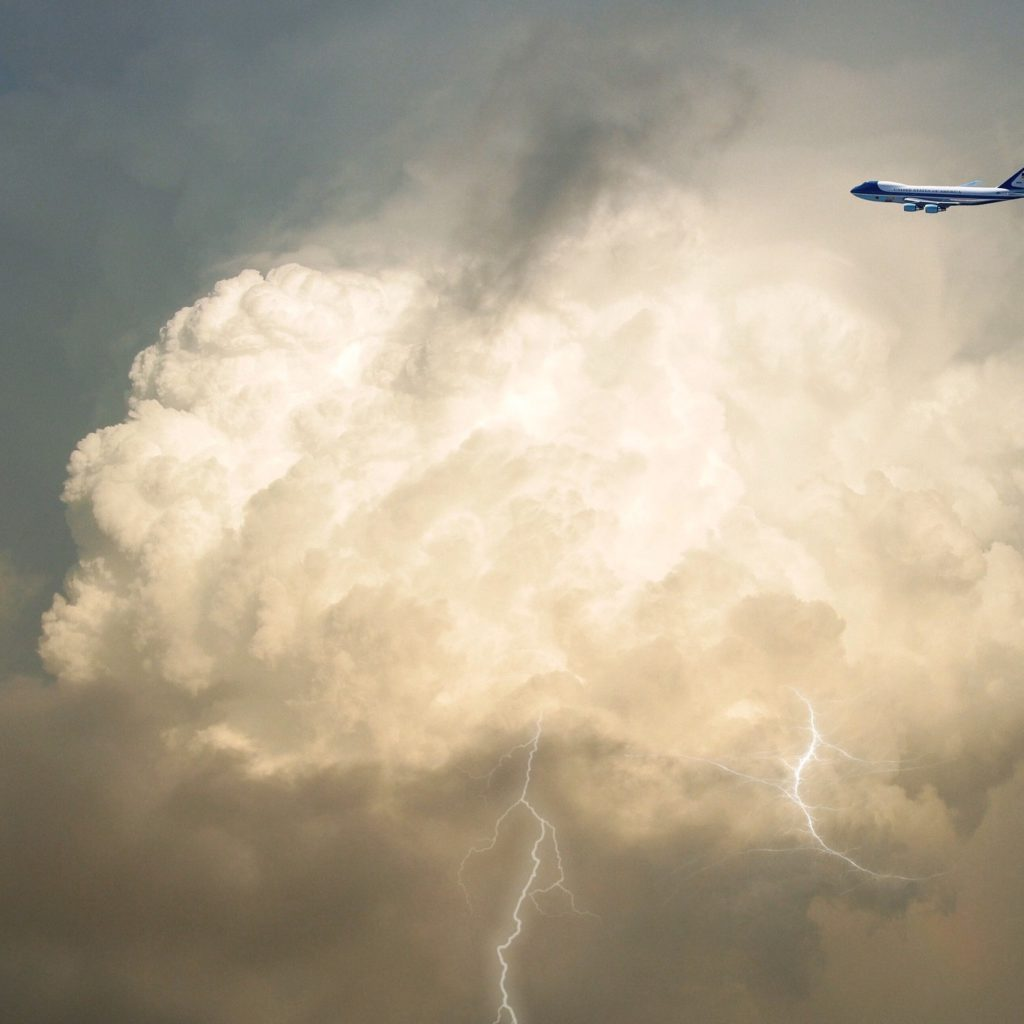 Airplane in the Sky and Lightning