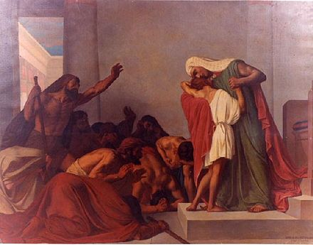 Joseph Recognized by His Brothers - 1863 painting by Léon Pierre Urbain Bourgeois