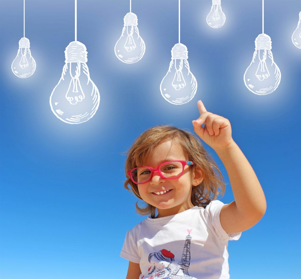 Cheerful Smiling Child Having Ideas