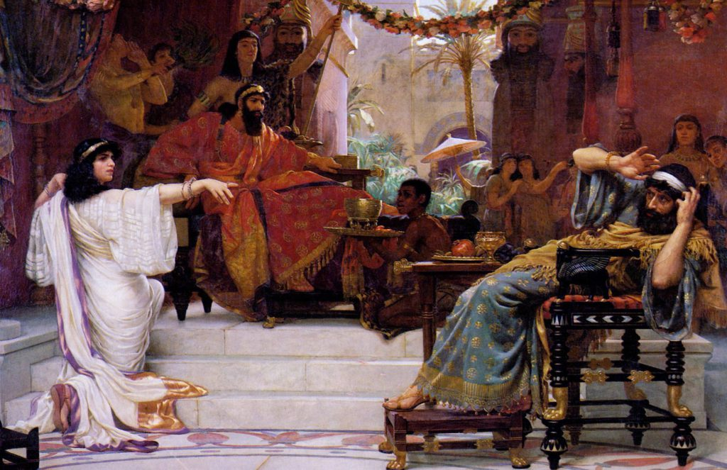 Painting Esther Denouncing Haman by Ernest Normand