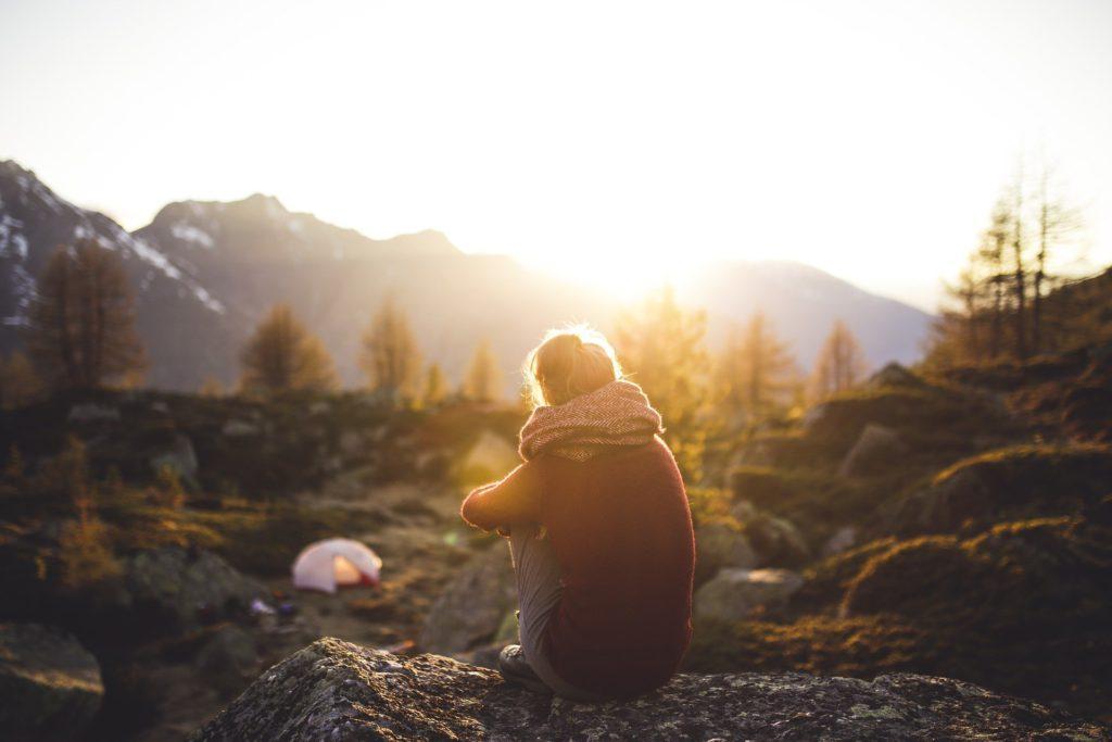 Girl Sitting Alone Enjoying Nature