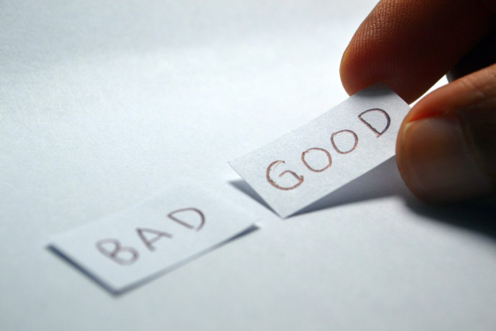 Good and Bad Words on Two Pieces of Paper