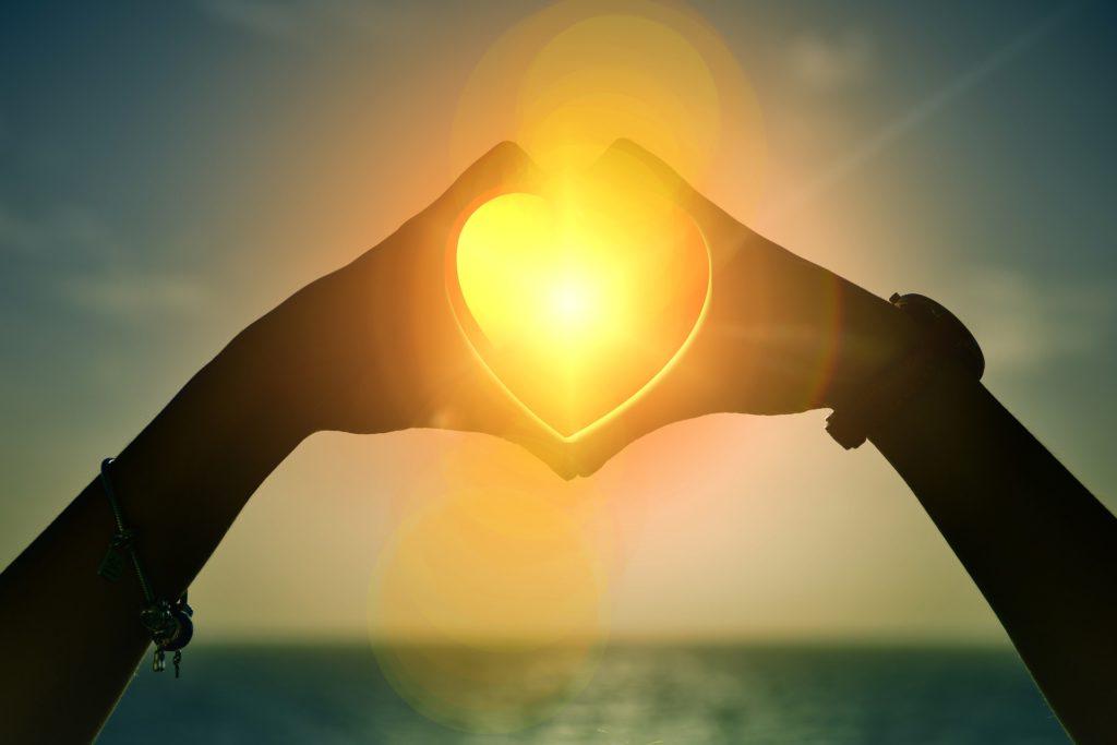 Heart Sunset Hands