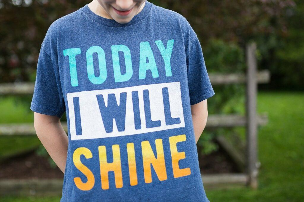 Inspirational Quote on T-Shirt - Today I will Shine