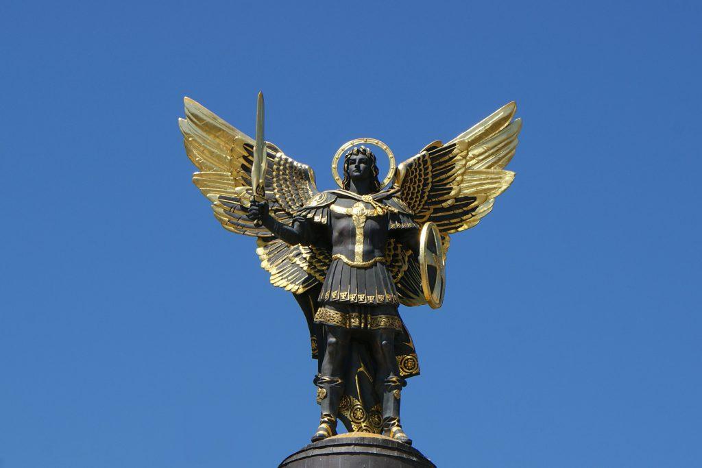 Sculpture of Archangel Michael, Kyiv's symbol, Ukraine