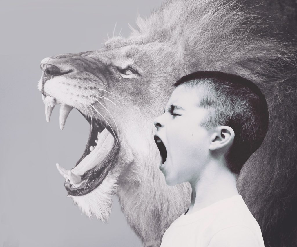 Lion and Child Roar