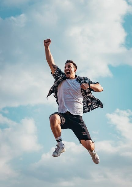 Man Jumping for Joy