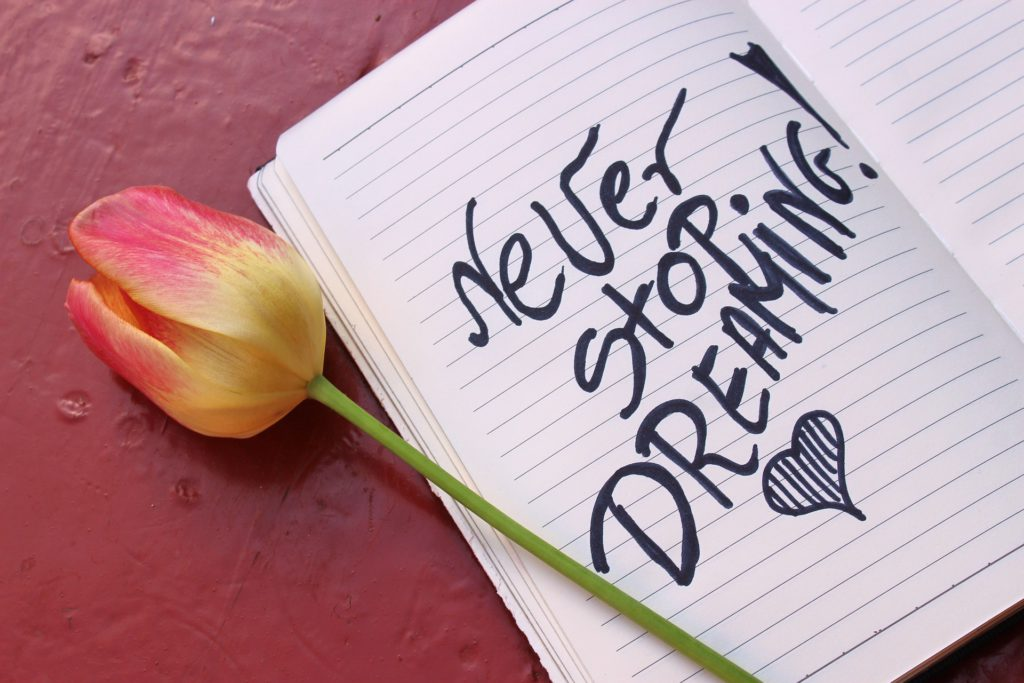 Never Stop Dreaming - Written in the Notebook and Tulip Near it