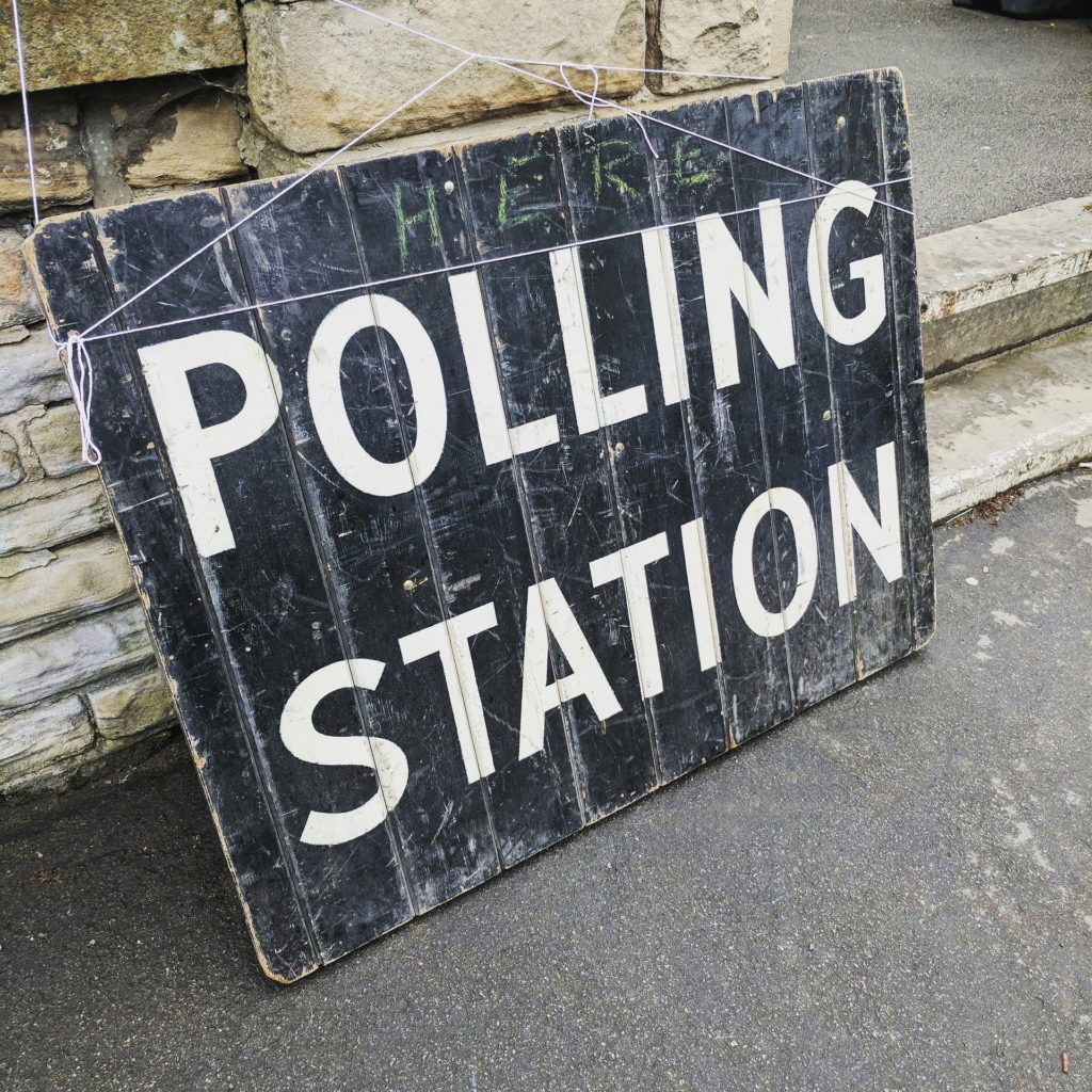 Polling Station Says on the Board