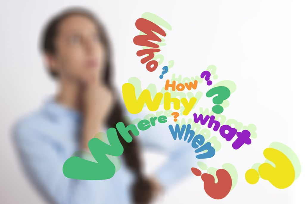 Questions Who What How Why Where - Woman Thinking