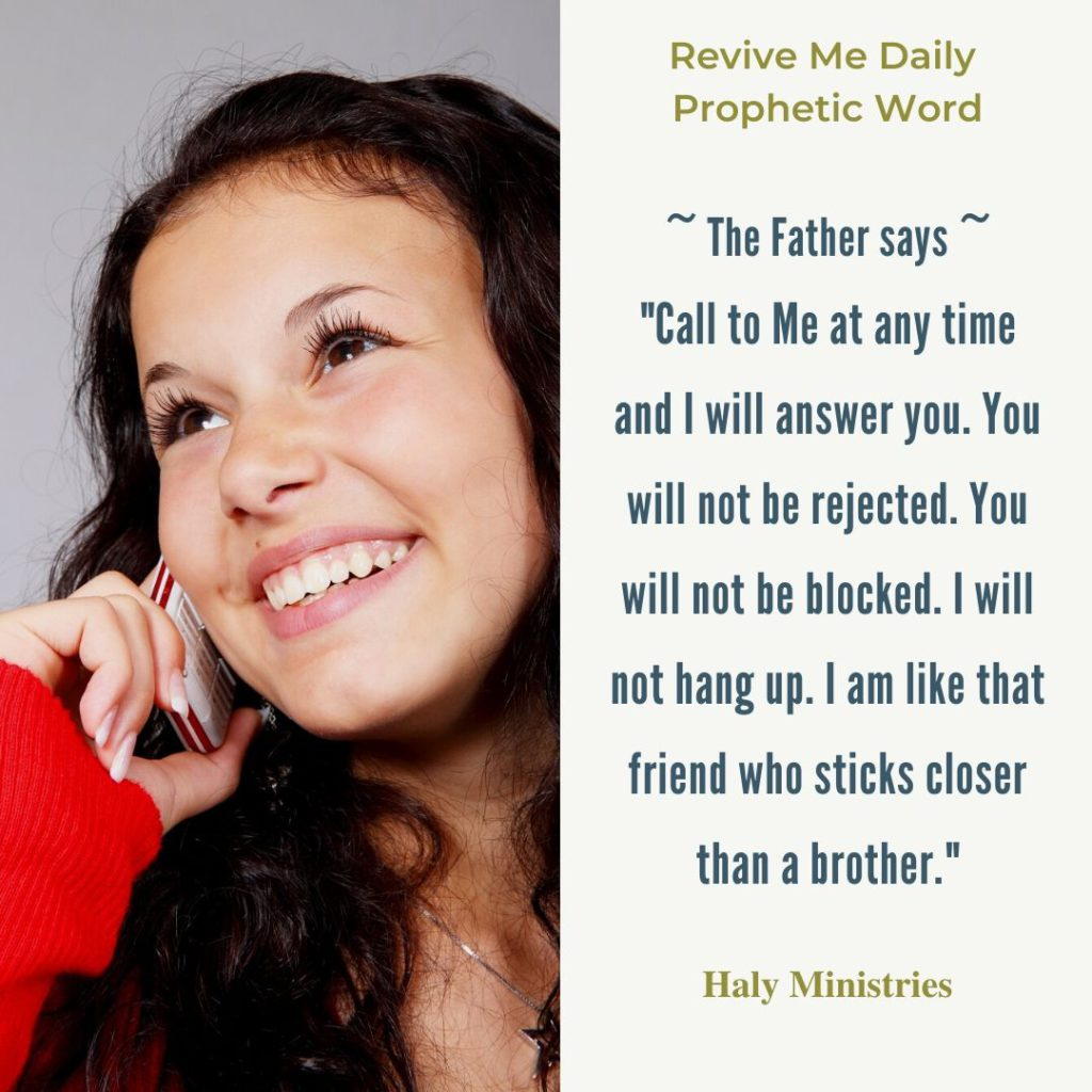 Revive Me Daily Prophetic Word Gods Invitation - Woman in On the Phone Smiling