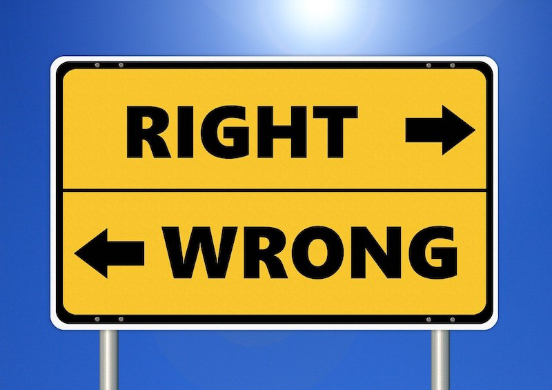 Right Wrong Sign with Arrows