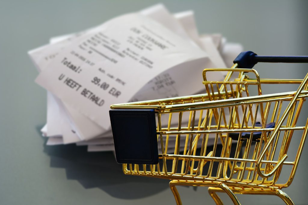 Shopping Receipts and Small Shopping Trolley