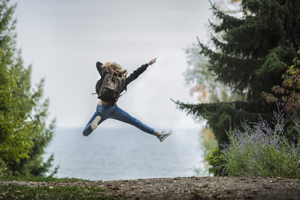 Woman Jumps for Joy